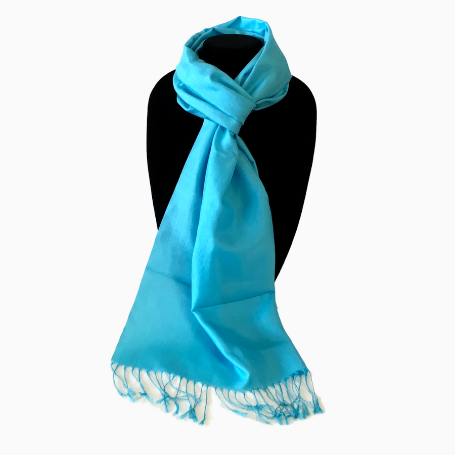 Handwoven Silk Scarf-Turquoise