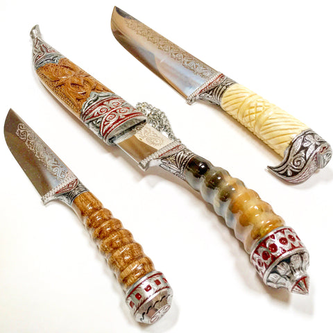Hand-Forged Knife-Bone Handle (On Right in Photo)