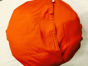 Round Ikat Pillow Cover, Orange, Fair Trade, Handmade, - HoonArts - 5