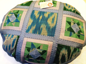 Round Ikat Pillow Cover, Blue & Green, Handmade - HoonArts - 1