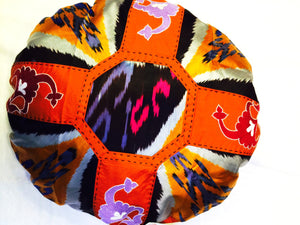 Round Ikat Pillow Cover, Orange, Fair Trade, Handmade, - HoonArts - 1