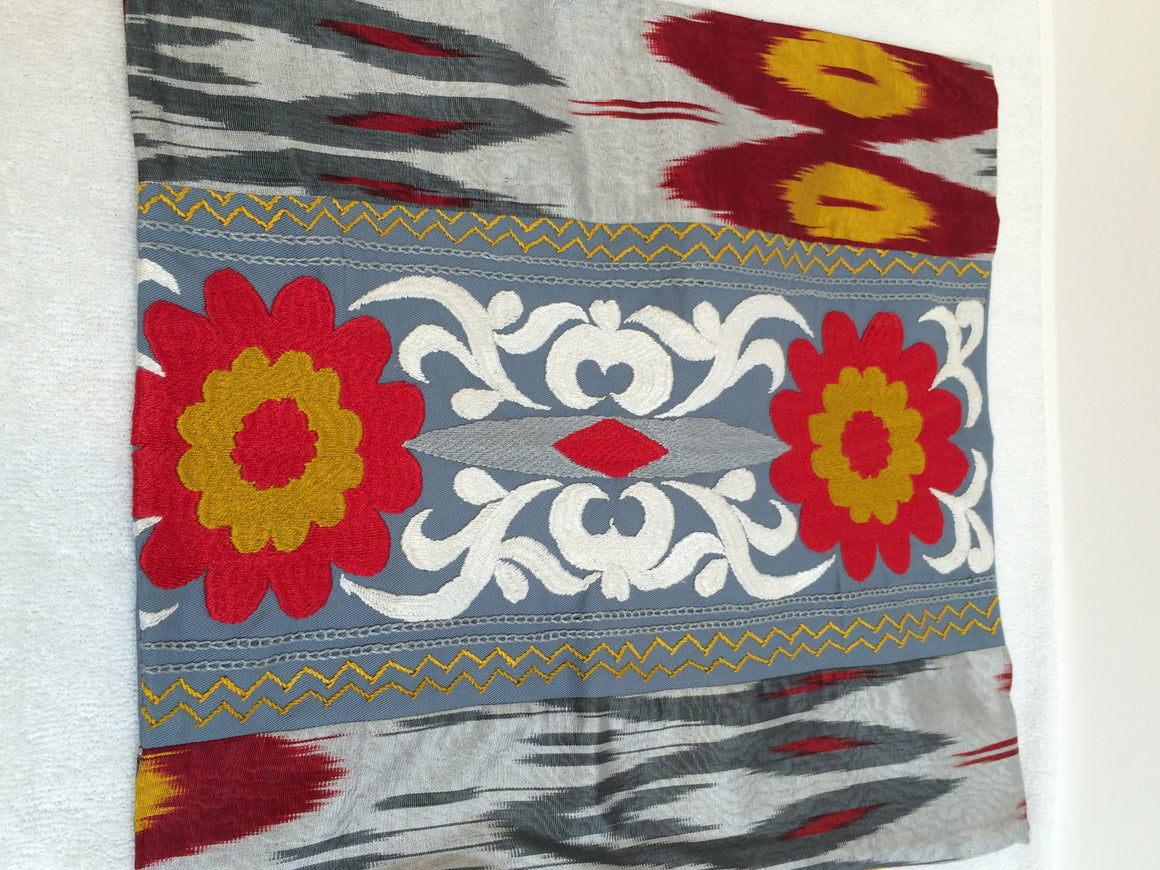 "Ikat and Suzani Embroidery Pillow Cover, ""Kamon"" (Bow) - HoonArts - 1"