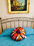 Round Ikat Pillow Cover, Orange, Fair Trade, Handmade, - HoonArts - 4