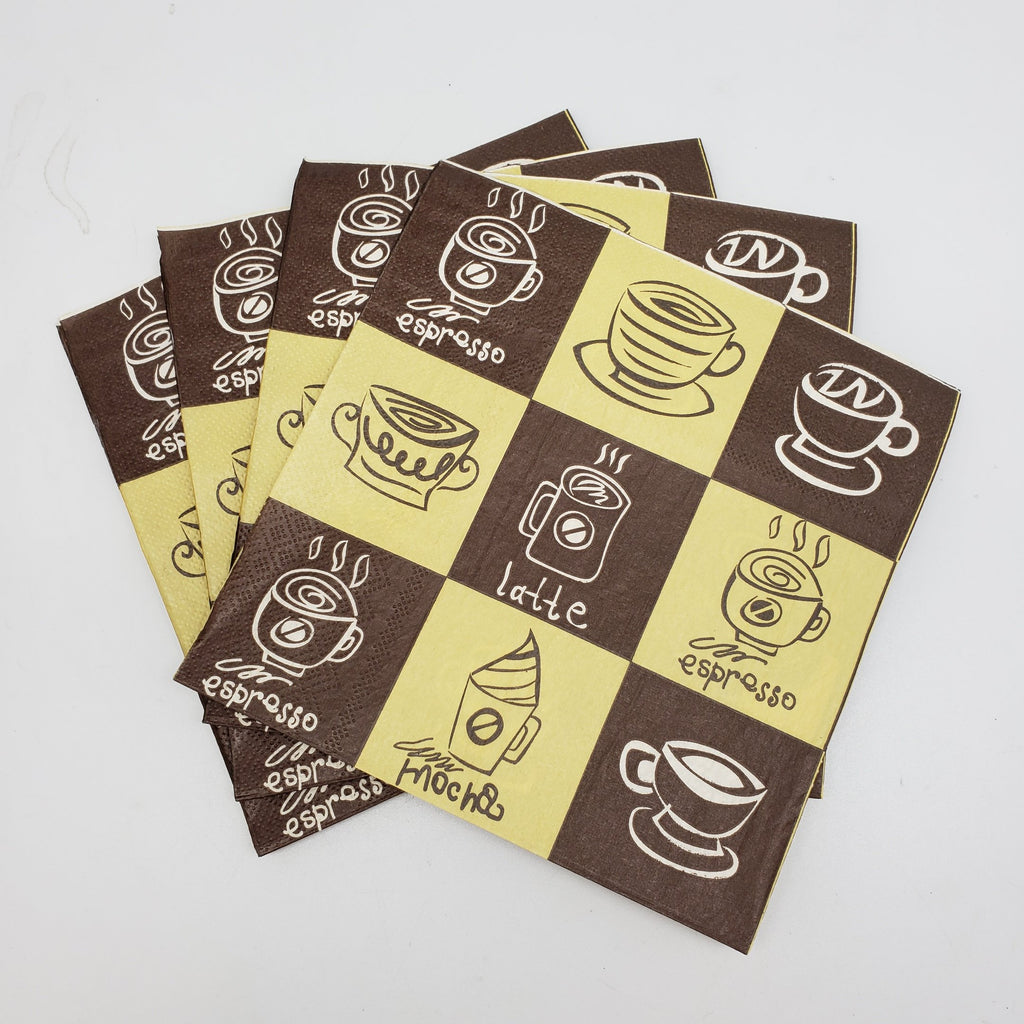 """Coffee Menu"" Printed Disposable Table Napkin - Pack Includes 20 Sheets"