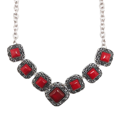 Coral Square 7 Stone Statement Bib Necklace
