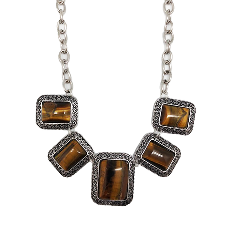 Bohemian Agate 5-Stone Statement Bib Necklace