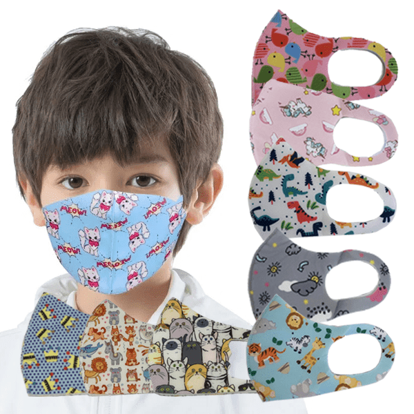 3 Pieces: Kids Cartoon Printed Protective Mask - Assorted Styles