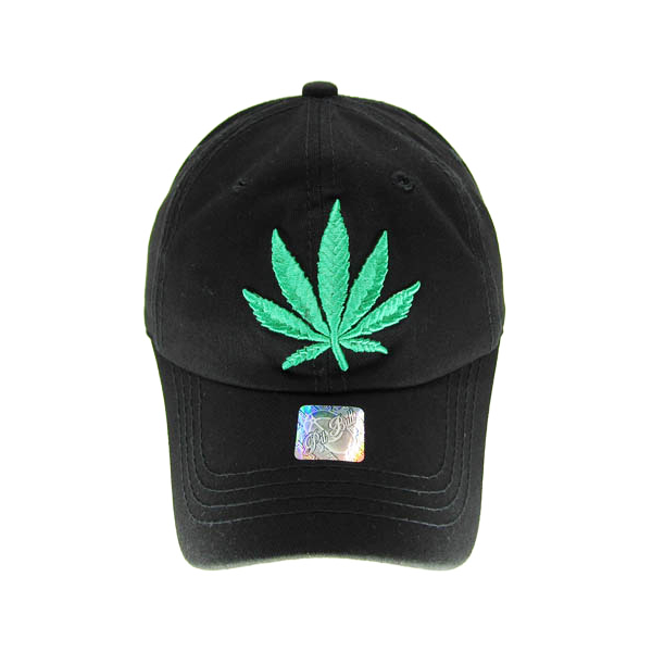 Weed Leaf Stitched and Embroidered Baseball Cap - 4 Colours Available!