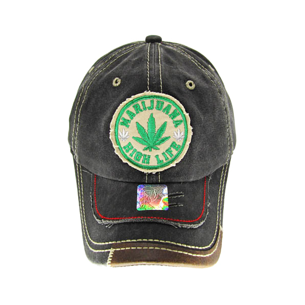 "Distressed Denim Style ""Marijuana High Life"" Patch Baseball Cap - 5 Colours Available!"
