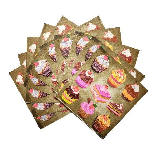 Cakes & Cupcakes Printed Disposable Table Napkin - Pack Includes 20 Sheets
