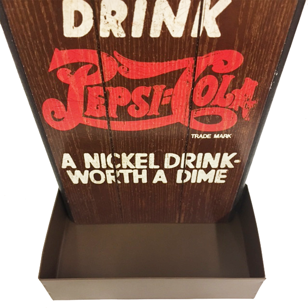"""Drink Pepsi Cola"" Mountable Bottle Shaped Wooden Cap Opener and Catcher"