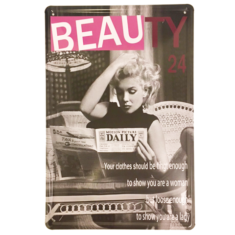 """Beauty 24 Woman"" Vintage Collectible Metal Sign Wall Art Decor With 4 Pre-drilled Holes"