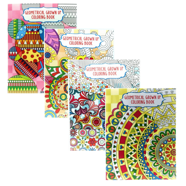 adult coloring books set of 4 geometrical grown up colouring book - Grown Up Coloring Books