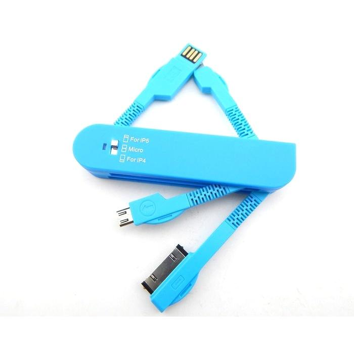 All Deals - 3-in-1 Swiss Style USB Charging Cable - Available In Blue, White Or Orange!