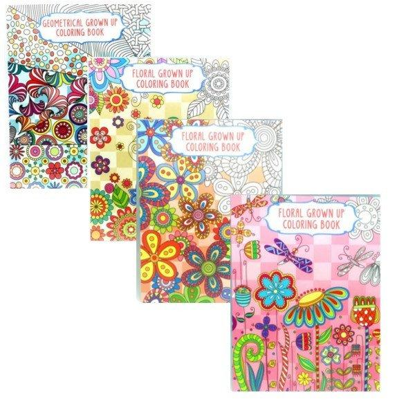 Set of 4: Adult Coloring Books - Floral Theme - LivingDeal