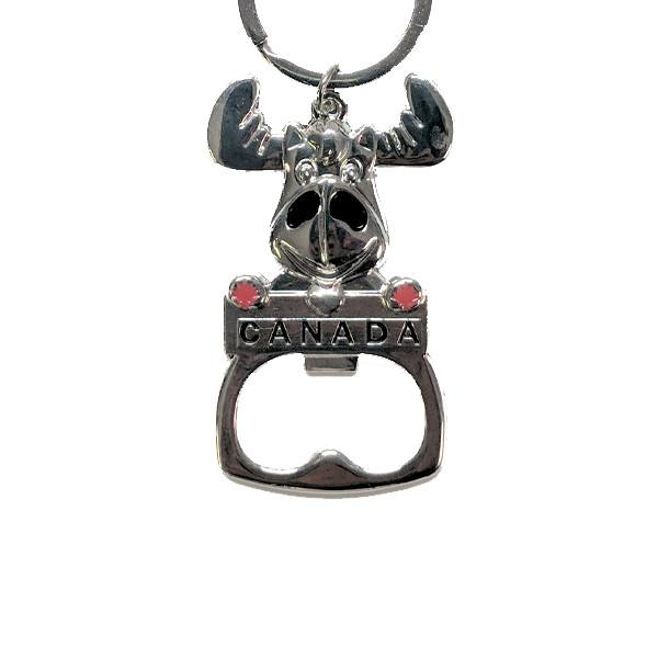 All Deals - Canadian Moose Metal Keychain With Bottle Opener