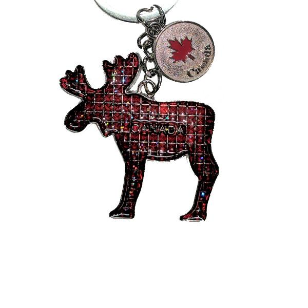 All Deals - Canadian Moose Metal Keychain With Maple Leaf Coin Charm