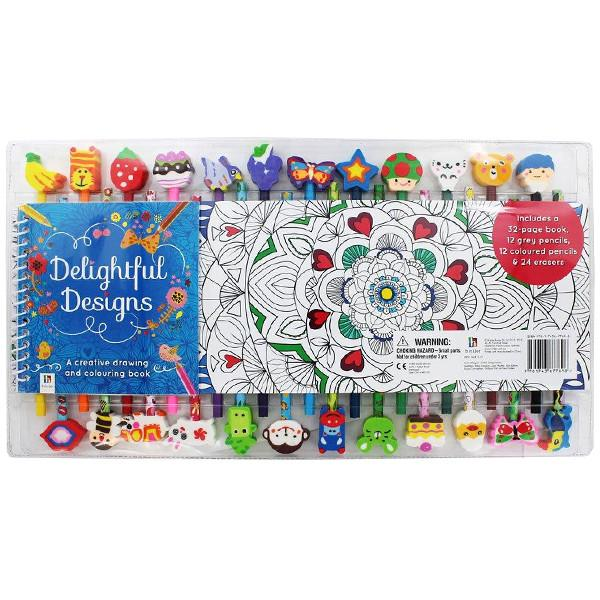 All Deals - Delightful Designs - A Creative Drawing And Coloring Book Kit