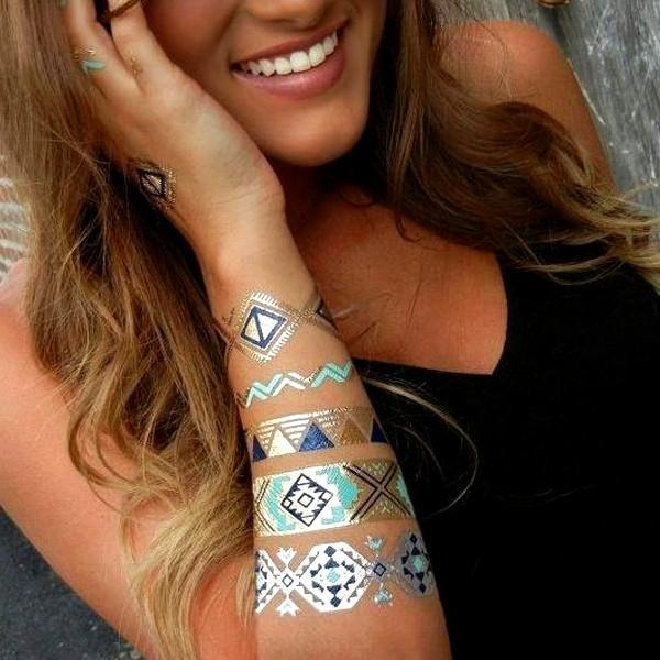 VIP Exclusive Offer! Buy 1 Get 2 Free For Only $9.99! Hot Jewels Metallic Temporary Tattoos - Assorted Styles!