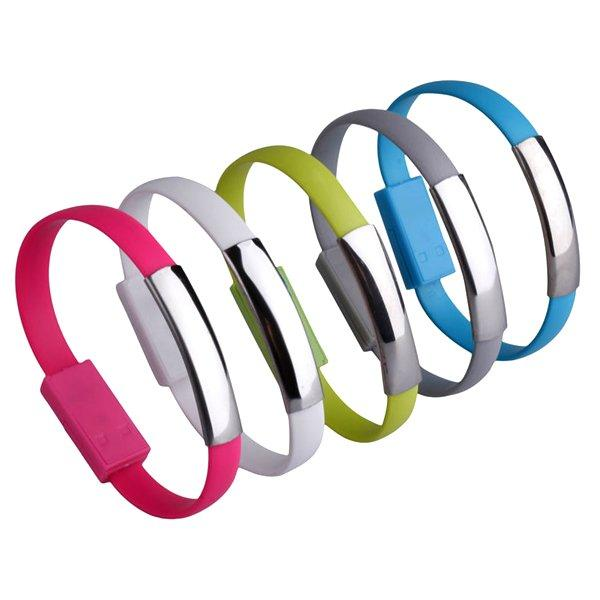 All Deals - Silicone Lightning IPhone USB Bracelet - Assorted Colors