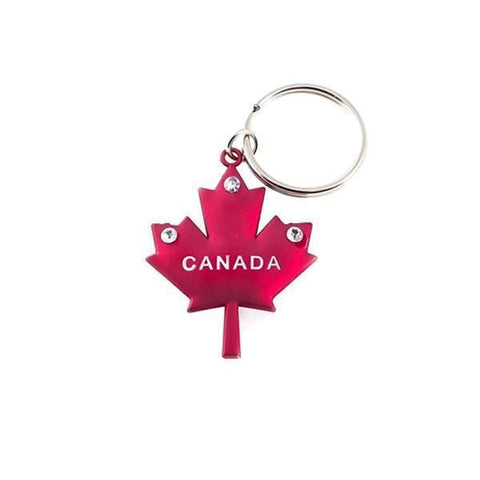 12 Pieces or 24 Pieces Tri-Stone Canadian Red Maple Leaf Metal Keychain