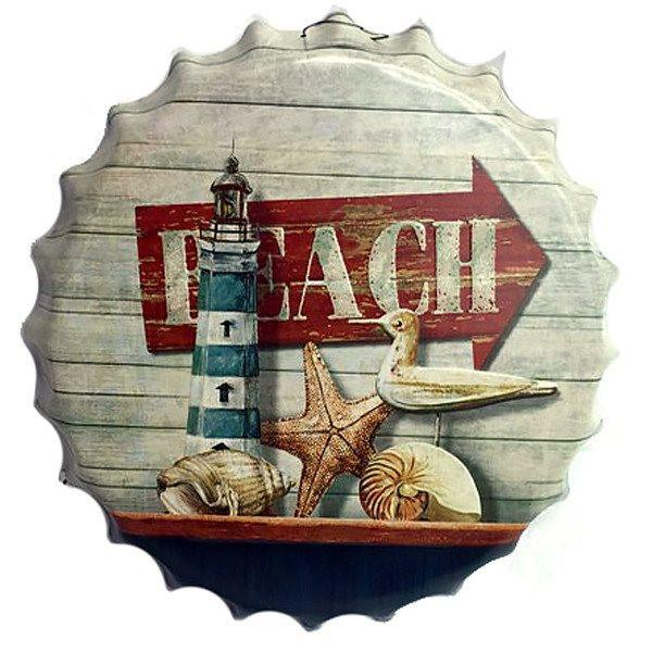 "All Deals - Vintage Bottle Cap Tin Sign -  ""Beach"""