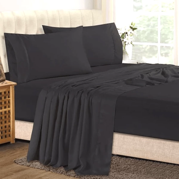 Luxury Bamboo Bed Sheet Set In Black