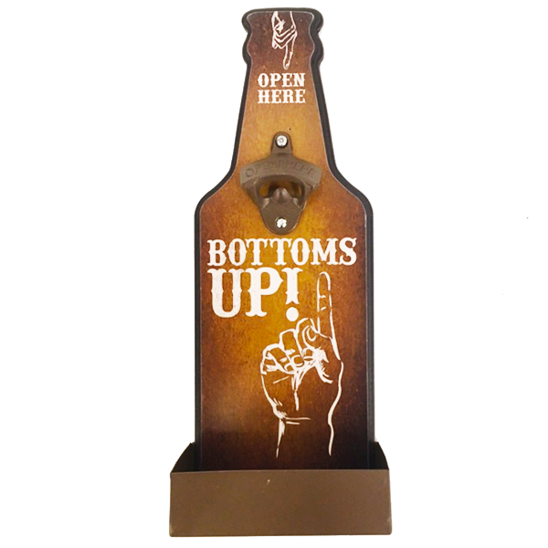 """Bottoms Up"" Mountable Bottle Shaped Wooden Cap Opener and Catcher"