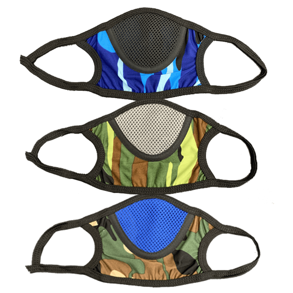 3 Piece: Camo Breathable Mesh Cotton Face Mask - Assorted Colors