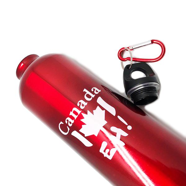 "Canada Collection - ""Canada Eh!"" Metallic Finish Reusable Aluminium Water Bottle With Screw Cap And Carabiner"