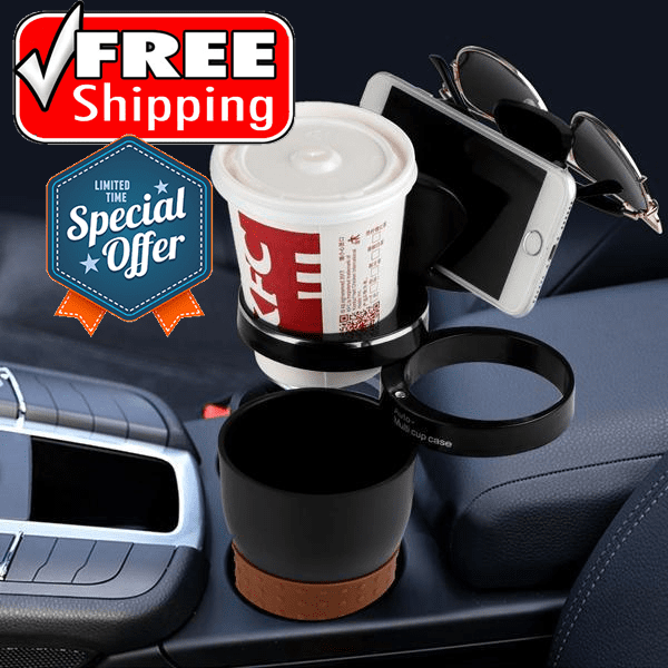 2 Pack: Automotive 5-in-1 Multipurpose Cup Holder - FREE SHIPPING!