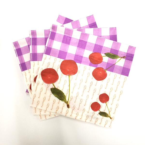 """Cherry Fruit"" Printed Disposable Table Napkin - Pack Includes 20 Sheets"