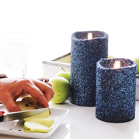 """Glittered Battery Operated Unscented Flameless LED Candle"" For Parties, Weddings & Home Decorations"