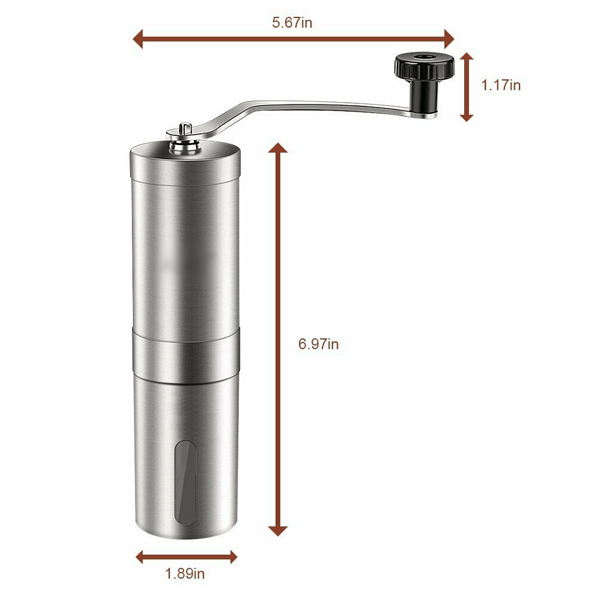 Stainless Steel Manual Coffee Grinder with Ceramic Burr