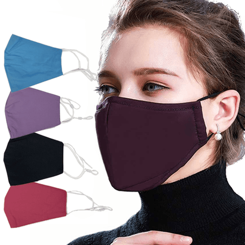 3 Pieces: Colored Cotton Face Mask With Filter Pocket And Adjustable Strap