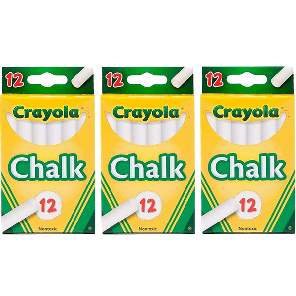 3 Packs of 12 Crayola White Chalk