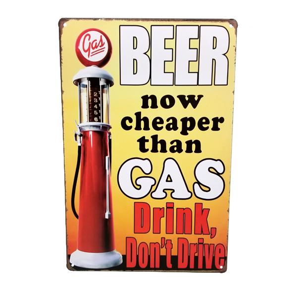 "Decor - ""Beer, Now Cheaper Than Gas"" Vintage Collectible Metal Wall Decor Sign"
