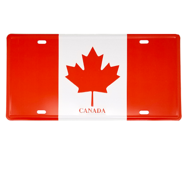Decor - Canada Flag Vintage License Plate Wall Decor Sign