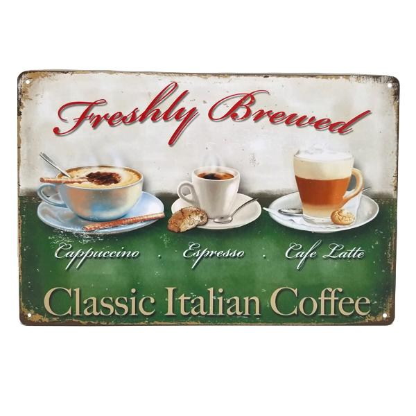 "Decor - ""Classic Italian Coffee"" Vintage Collectible Metal Wall Decor Sign"