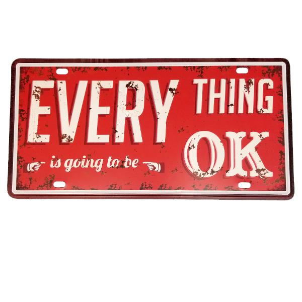 "Decor - ""Everything Is Going To Be OK"" Vintage License Plate Wall Decor Sign"