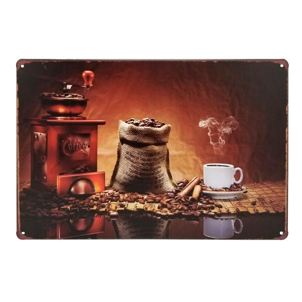 Decor - Freshly Ground Hand-Made Coffee Vintage Collectible Metal Wall Decor Sign