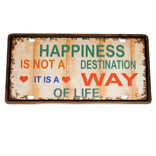 "Decor - ""Happiness"" Vintage License Plate Wall Decor Sign"