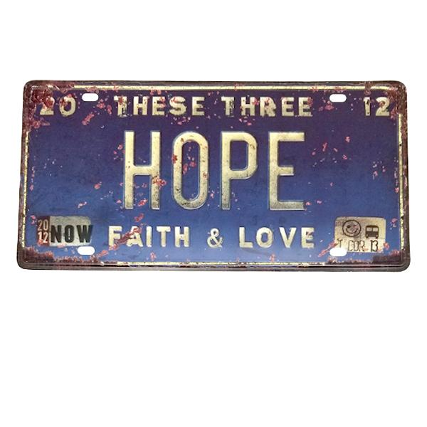 "Decor - ""Hope, Faith & Love"" Vintage License Plate Wall Decor Sign"