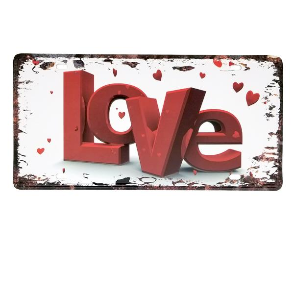 "Decor - ""Love"" Vintage License Plate Wall Decor Sign"