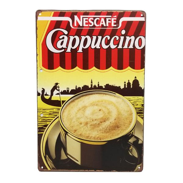 Decor - Retro Nescafe Cappuccino Vintage Collectible Metal Wall Decor Sign