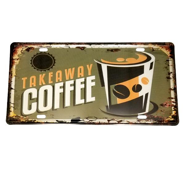 "Decor - ""Takeaway Coffee"" Vintage License Plate Wall Decor Sign"