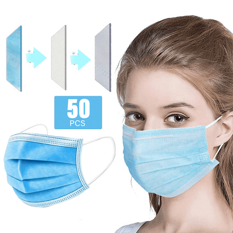 50 Pieces 3 Ply Disposable Face Mask