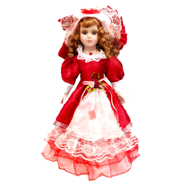 """Red Peasant Dress"" Bisque Porcelain Doll"
