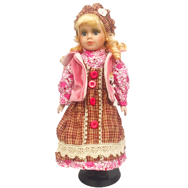 """Floral Pink Jacket"" Bisque Porcelain Doll"