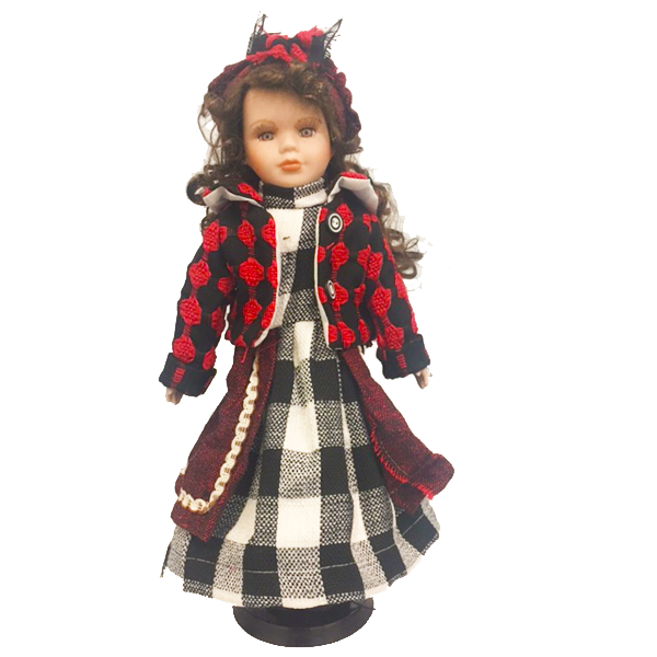 """Brunette In Red Check Top"" Bisque Porcelain Doll"